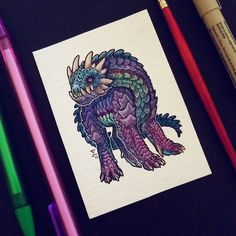"""243 Likes, 11 Comments - Emma Lazauski (@emmalazauski) on Instagram: """"An umbral drake-hound mini, companion to his fiery brother. Finished both of these on my eclipse…"""""""