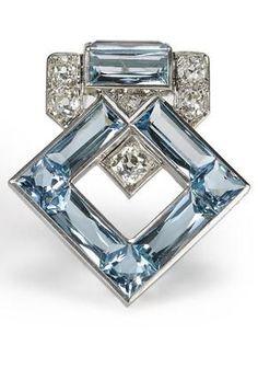 An art deco aquamarine and diamond brooch, Cartier