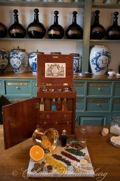 Herbs:  #Apothecary shop interior with 18th Century medicines. Historic trades at Colonial Williamsburg.  Williamsburg, Virginia.