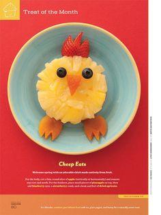 pineapple chick Cute Food, Good Food, Funny Food, Bento, Chicken Snacks, Easter Treats, Easter Food, Hoppy Easter, Fruit Art