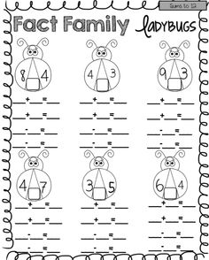 Lady bug fact families! Cute way to teach addition to 18!