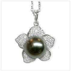 Daffodil diamond and black Tahitian pearl pendant