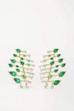 Fernando Jorge - Flare 18-karat Gold Multi-stone Earrings Stone Earrings, 18th, Hair Accessories, Emeralds, Bottega Veneta, Strands, Turning, Brazil