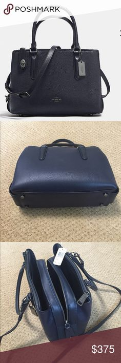 """NWT Coach Brooklyn carryall 28 Pebble leather in navy Inside zip and multifunction pockets Zip-top closure, fabric lining Handles with 5"""" drop Outside zip compartments. Metal feet on bottom. Detachable strap with 21"""" drop for shoulder or crossbody wear. No tax. 11"""" (L) x 7 3/4"""" (H) x 4 3/4"""" (W) Coach Bags Crossbody Bags"""