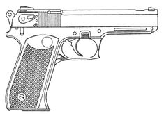 "pistol drawings | Drawing of the OC-23 ""Drotik"" Automatic Pistol"