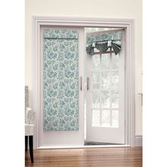 Waverly Cornflower Charmed Life French Door Panel ($48) ❤ liked on Polyvore featuring home, home decor, window treatments, curtains, cornflower, door curtains, window panels, french door panels, window shade and door panel
