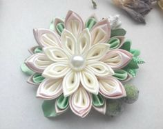 Kanzashi flowers/Kanzashi hair clip/Orange White flower girls hair clip/Girls hair accessories  100% handmade for sure! d flower - 2.56 inches d flower with feathers - 3,54 inches Ready to ship