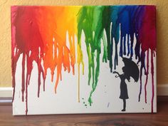 Regenbogen/regen regenschirm geschmolzen Wachsmalstift-Kunst