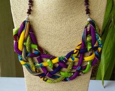 African Print Necklace Ethnic Jewellery by AfrogenicCollections