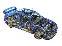 Subaru Impreza WRC (GD) '2001–02. An awesome illustration of what an Impreza looks like inside!