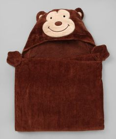Take a look at this Brown Monkey Hooded Towel by Pep & Doz on #zulily today!