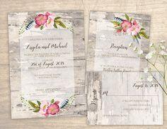 Birch Bark Printable Wedding Invitation design No. 201 - personalized birch flower invitation for wedding, bridal shower, baby shower DIY