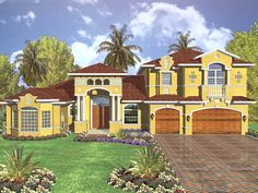 The Sumantra Santa Fe Style Home  has 4 bedrooms, 4 full baths and 1 half bath. See amenities for Plan 106S-0036.