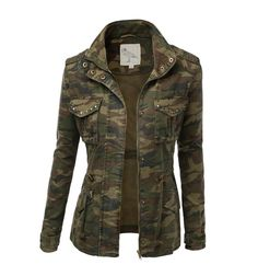 Women's Camo Military Cotton Drawstring Jacket with Studs Army Camo Jacket, Military Jacket Women, Military Field Jacket, Camouflage Jacket, Military Style Jackets, Military Fashion, Women's Camo, Army Jackets, Military Camouflage