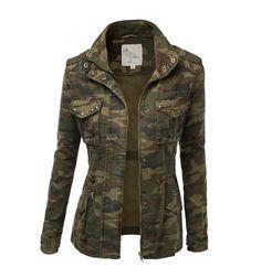 Womens Trendy Military Jacket