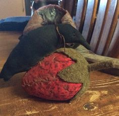 My strawberry...and linen crow..$53.00