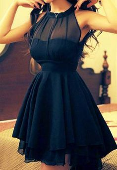 Mock Neck Sleeveless High Low Hem Mesh Skater Dress [grzxy6601142]