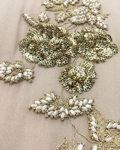 Getting ready with beautiful pearls and exquisite sequined work for the next season. #bhumikasharma #details #love #handcrafted #embellished #embroidered #pearlsandgold