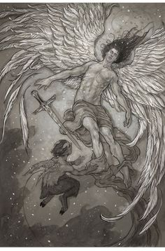 An apparent falling angel, conceived and illustrated by Rebecca Guay. I love her work! Corner Drawing, Art Corner, Illustration Example, Illustration Art, Illustrations, Dark Fantasy, Fantasy Art, Gates Of Hell, Angel Drawing