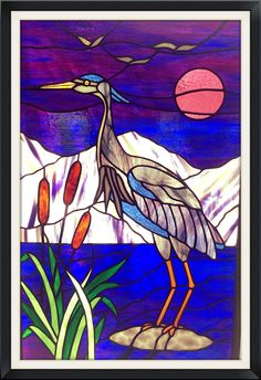 Blue Heron stained glass panel I designed myself.