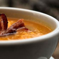 Roasted Pumpkin Bisque with Bacon
