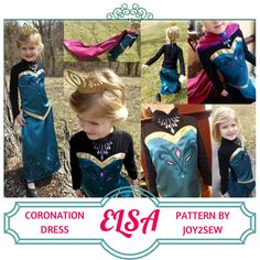 Elsa Coronation Pattern by Joy2Sew! Sizes 18mo-7years. Make your Princess one for Halloween!