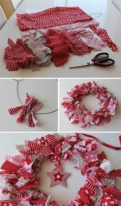 Deck the halls with boughs of holly, ribbons and baubles - here are the most stunning homemade Christmas decorations on the market. Wreath Crafts, Diy Wreath, Crafts To Sell, Holiday Crafts, Diy And Crafts, Holiday Decor, Christmas Sewing, Christmas Crafts, Christmas Ornaments