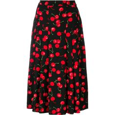 Essentiel Antwerp cherry print pleat skirt (3.895.150 IDR) ❤ liked on Polyvore featuring skirts, black, pleated skirts, cherry print skirt and knee length pleated skirt