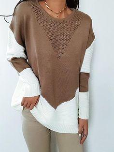 Chicnico Boho Spliced O-Neck Long Sleeve Sweater