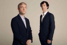 SHERLOCK (BBC) ~ Season 3 promo photo shoot. John Watson (Martin Freeman) and Sherlock Holmes (Benedict Cumberbatch)