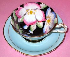 PARAGON PINK FLORAL CHINTZ BLUE BLACK TEA CUP AND SAUCER SET HP TEACUP
