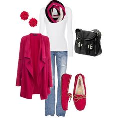 Pink flower earrings, pink jacket, white shirt, black purse, black/pink/white scarf, blue jean, and pink shoes.