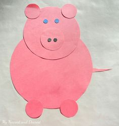 Nursery rhymes for toddlers – shaped pig - Crafts For Toddlers Farm Animal Crafts, Pig Crafts, Animal Crafts For Kids, Daycare Crafts, Classroom Crafts, Art For Kids, Baby Crafts, Decor Crafts, Nursery Rhyme Crafts