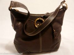 The Sak Bag Shoulder Bag Purse Handbag Brown , Leather with Leather Trim