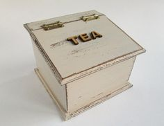 Rustic Wooden Tea Box Container Cannister in by chocberryavenue, $26.00