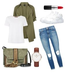 """Green"" by ilsecamps ❤ liked on Polyvore featuring J Brand, MaxMara, NIKE, L'Autre Chose, Daniel Wellington and MAC Cosmetics"