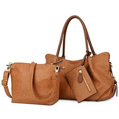 UTO Women Handbag Set 3 Pieces Bag PU Leather Tote Small Shoulder Purse Bags Wallet Strap Brown -- Learn more by visiting the image link. Small Shoulder Bag, Shoulder Purse, Shoulder Handbags, Leather Shoulder Bag, Girls Bags, Satchel Purse, Womens Purses, Leather Handbags, Pu Leather