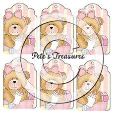 Cute Bear Printable Hang Tags Digital Collage by petestreasures, $2.00