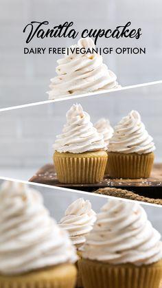 Dairy Free Vanilla Cupcakes (Vegan) - Make It Dairy Free - Easy vanilla cupcakes recipe Paleo Cupcakes, Vegan Cupcake Recipe Easy, Sugar Free Cupcakes, Vegan Vanilla Cupcakes, Vanille Cupcakes, Easy Vanilla Cake Recipe, Easy Cupcake Recipes, Gluten Free Vegan Cupcakes, Dairy Free Vanilla Frosting