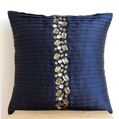 Handmade Navy Blue Cushion Covers, Home Silk Pillow Covers, Square Pintucks And Crystals Throw Pillows Cover - Navy Blue Crystals - Decoration for All Blue Cushion Covers, Handmade Cushion Covers, Diy Pillow Covers, Handmade Cushions, Burlap Pillows, Sewing Pillows, Throw Cushions, Decorative Throw Pillows, Modern Pillows