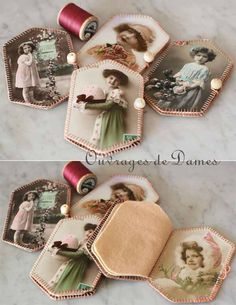 pique-aiguilles petites filles Love these little needle books. I should make some with our family photos. Grandma in the sled as a little girl.