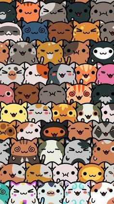 Cat Phone Wallpaper, Cute Cat Wallpaper, Cute Patterns Wallpaper, Kawaii Wallpaper, Cute Wallpaper Backgrounds, Cute Cartoon Wallpapers, Disney Wallpaper, Cute Animal Drawings, Kawaii Drawings