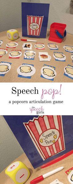 A popcorn articulation game Speech Pathology Activities, Preschool Speech Therapy, Speech Therapy Activities, Speech Language Pathology, Speech And Language, Speech Pathology Jobs, Articulation Therapy, Preschool Articulation Activities, Phonics