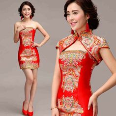 Chinese dragon robe inspired mandarin collar mini qipao two pieces Chinese red cheongsam bridal wedding dress 002