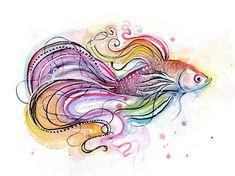 Betta Fish Watercolor Painting Art Print Giclee Animal Wall Art Home Decor Tropical Watercolor Fish, Watercolor Animals, Watercolor Paintings, Painting Art, Fish Paintings, Yarn Painting, Watercolours, Fish Artwork, Fish Wall Art