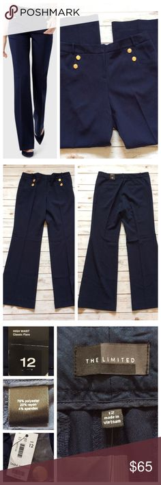 """The Limited High Waist Classic Flare Trouser Beautiful navy trouser pants with high waist and gold accent buttons. Flared leg with long 32.5"""" inseam. 4% spandex for perfect fit and movement. Online exclusive, Gorgeous NWT condition. True size 12, 17.5"""" waist. The Limited Pants Trousers"""