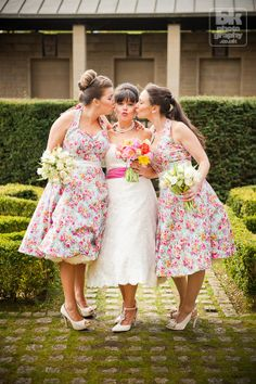 Tea Length 1950s Vintage Style Blue & Pink Floral Bridesmaid Dresses Made By Lady JoJo's Brides
