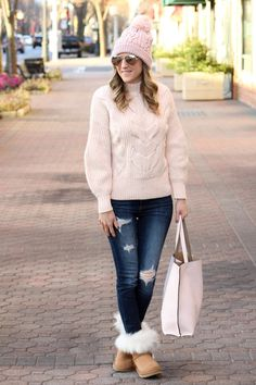 pink sweater, pink beanie and ugg boots perfect for winter outfits