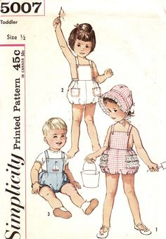 Vintage 1960s Toddlers Romper Sunsuit and Bonnet Includes Transfer Size 1/2 Simplicity 5007 Sewing Pattern 60s | Flickr - Photo Sharing!