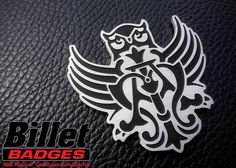 """Will I Am Owl"" Corvette Emblem is a 1/8"" custom brush finished badge with black paint fill. For more info visit www.billetbadges.com.  #billetbadges #william #emblem #custom #madeinusa"